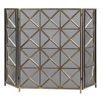Akiva Burnished Silver Champagne Fireplace Screen