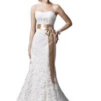 Maillsa Hot Sell High Quality Mermaid Lace Wedding Dress with Beadings and Sash