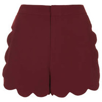 Scallop Front Shorts - Burgundy