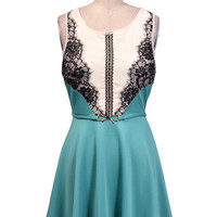Lace Detail Dress With Gold Bow Belt - Turquoise