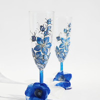 Forget me Not Hand Painted Wedding Toasting Glasses set pf 2 Swarovski Crystals
