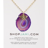 Purple Agate Bee Necklace