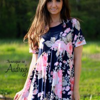 Honeyme Navy Blue and Pink Floral Print Short Sleeve Babydoll Top