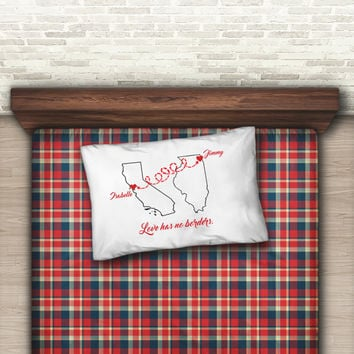 Love has no borders long distance relationship boyfriend gift, Personalized pillow case for couple, Two states love, Standard or king