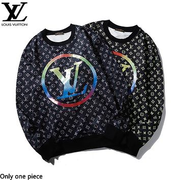 LV fashion hot selling color full print long sleeve casual couple hoodies