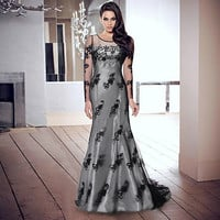 Ball Gown Women's Fashion Summer Slim Embroidery One Piece Dress = 5893272129
