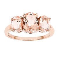 Oval Morganite Three Stone Ring in 14K Rose Gold - Size 7 - View All Rings - Zales