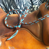 over and under barrel racing tack brown and turquoise