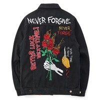 Streetwear Denim Jacket Men Black Floral Embroidery Jeans Jacket