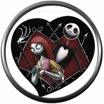 Nightmare Before Christmas Jack Skellington And Sally In Heart 18MM - 20MM Charm for Snap Jewelry