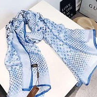 Louis Vuitton LV Newest Hot Sale Woman Comfortable Cashmere Scarf Shawl Silk Scarf Blue
