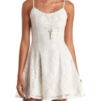 Cross-Back Lace Skater Dress by Charlotte Russe - Ivory Combo