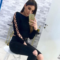 Women's Fashion Round-neck Hollow Out Long Sleeve T-shirts [11686233999]