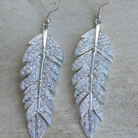 Sparkling Tiered Feather Earrings [3923] - $22.00 : Vintage Inspired Clothing & Affordable Fall Frocks, deloom | Modern. Vintage. Crafted.
