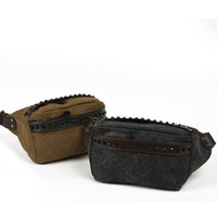 rivet punk style leather canvas small bag