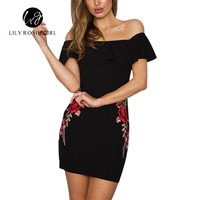 Off Shoulder Black Sexy Club Floral Embroidery Women Dress Slash Neck Sheath Autumn 2016 Evening Party Mini Dresses Vestidos