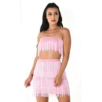 Shot Caller Pink Sleeveless Spaghetti Strap Fringe Crop Top Bodycon Two Piece Mini Dress - 5 Colors Available