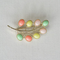 Vintage Sarah Coventry Candy Land Brooch Gold Tone Leaf with Pastel Candy Shaded Cabochons