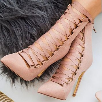 Hot style stilettos with crossed toes and straps shoes