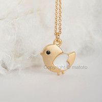 Gold Baby Chick Necklace, Tiny Bird Charm Necklace, Adorable Whimsical Jewelry