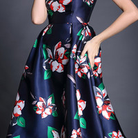 Navy Blue Sleeveless Vintage Inspired Floral Print Flare Midi Dress