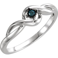 Sterling Silver .03 CTW Genuine Blue Diamond Promise Ring