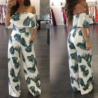 INUPIAT 2017 New Style Women's Jumpsuits Full Length Straight Fashion Off Shoulder Women Jumpsuit for Summer