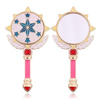 Cute Round Star Wing Makeup Hand Hold Mirror Princess Lady Cardcaptor Sakura Card Makeup Beauty Mirror Dresser Christmas Gift