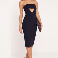 Missguided - Crepe Cut Out Bandeau Midi Dress Navy