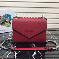 PRADA WOMEN'S LEATHER 1BD127 INCLINED CHAIN SHOULDER BAG