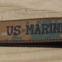 Military Key Fob, USMC Woodland Embroidered Key Fob, Ready to Ship Key Fob, Wristlet or Key Chain, Brown Webbing Black Embroidery