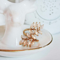 Ivy Ring - Vine Ring - Wrap Ring - Peach and Gold