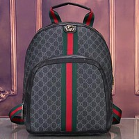 G GG Fully printed red and green stripes backpack school bag luggage bag travel bag Daypack Black