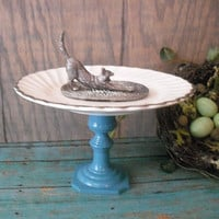 silver CAT ring holder on Turquoise pedestal Upcycled repurposed Ring Jewelry Dish