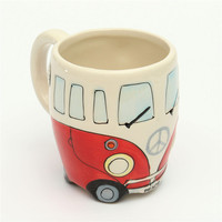 Cute Originality Ceramic Cups Hand Painting Retro Double Decker Bus Mug Coffee Milk Tea Cup Water Bottle Drinkware Gift