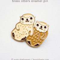 Otter Pin - Otters Enamel Lapel Pin - Otters Holding Hands Enamel Pin by boygirlparty