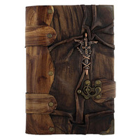 Barbarian Sword Cast On A Leather Journal / Notebook / Diary / Sketchbook / Leatherbound