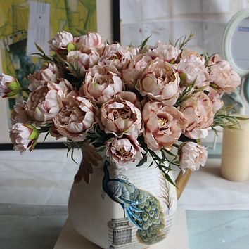Shabby Chic Bouquet European Bride Wedding Small Peony Silk Flowers Mini Artificial Flowers for Home Decoration Indoor 5 Colors FREE SHIPPING
