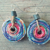 Upcycled, recycled, repurposed Paper Earrings - Paper beads - Bohemian jewelry - Boho chic earrings - Earthy earrings - Pink and purple