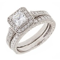 Vintage Engraved Diamond CZ Engagement Ring Set: Overstock Silver: Jewelry