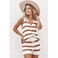 Play The Game Camel Striped Knit Sweater Tank Top
