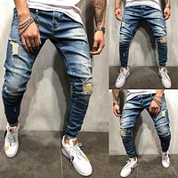 Men's Jeans Skinny Slim Fit Straight Ripped Distressed Pleated Knee Hole