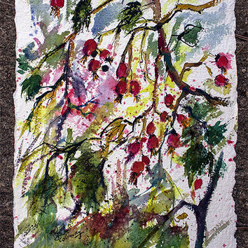 Rose Hips Watercolor on Handmade Paper