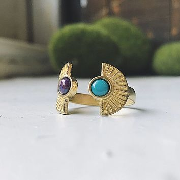 Dawn to Dusk Two Stone Turquoise Ring