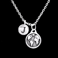 Earth Initial Letter Globe Map World Geography Atlas Planet Gift Necklace