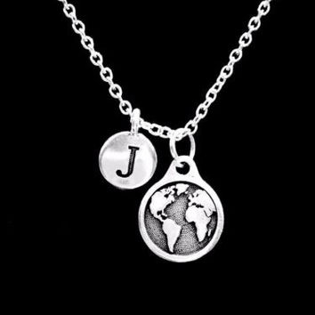 TooLoud Planet Earth Text Only Adult Dog Tag Chain Necklace