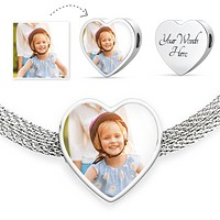 Personalized Photo Create-Your-Own Luxury Heart Charm Bracelet