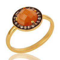 Shiny 18K Gold Plated Sterling Silver Peach Moonstone And CZ Stackable Ring