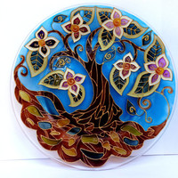 Tree of life mandala Glass painting Decorative plate Glass plate Glass art