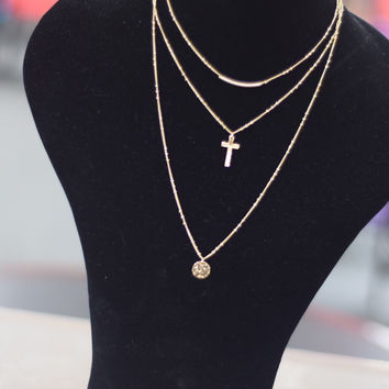 Three Layer Chain Charms Necklace Set